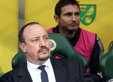 Benched: Chelsea manager Rafael Benitez (front) and  player Frank Lampard.