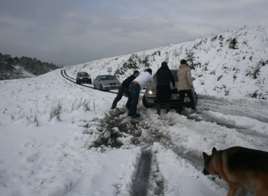 Stuck drivers on the Sally Gap road earlier