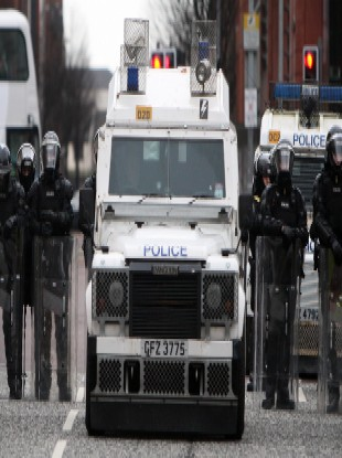 Police in riot gear on Saturday