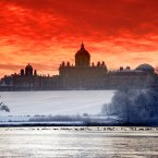 A Sub zero sunrise over Castle Howard the stately Home made famous in Brideshead Revisited. The lake in front of Castle Howard is now almost completely frozen over as the severe winter weather continues. (John Giles/PA Wire)