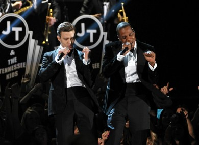 Justin Timberlake and Jay-Z on stage