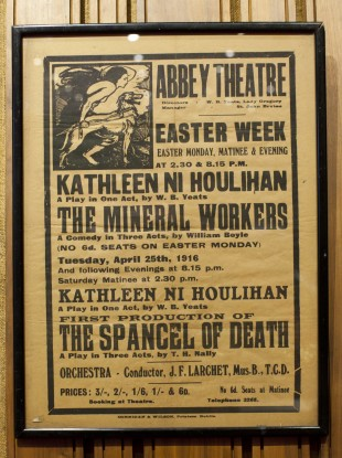 A poster from the performances that weres scheduled to take place at the Abbey Theatre on the day of the 1916 rising