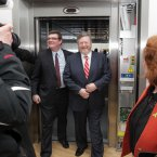 Closing his jacket is Minister for Health, James Reilly TD, smiling at the Minister of State, Department of Health and Department of Justice, Equality and Defence, Kathleen Lynch TD, after being released from a broken elevator at the opening of the new 54-bed purpose built mental health facility Phoenix Care Centre in Grangegorman, Dublin, today. Photo Mark Stedman/Photocall Ireland