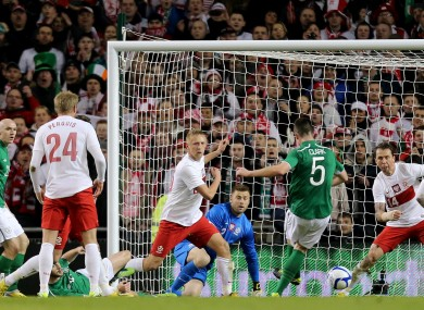 Ciaran Clark opens the scoring for Ireland.