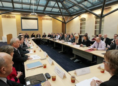 Union representatives meet with the Department of Public Expenditure during the Croke Park talks
