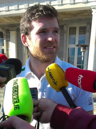 Gordon D'Arcy addresses the media at Carton House.