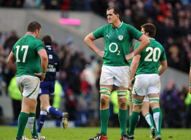 Ireland's Devin Toner dejected after the game.