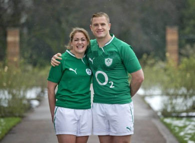 Fiona Coghlan and Jamie Heaslip at the Six Nations 2013 launch.
