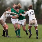 Irelands Jenny Murphy tackled by Abigail Chamberlain of England.