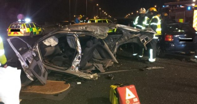 Pics: 7 injured after cars collide with motorist driving wrong way down M50