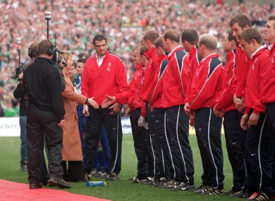 Mary McAleese shakes hands with the English players.