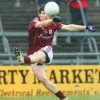 Michael Meehan of Galway takes a free. Pic: INPHO/Mike Shaughnessy