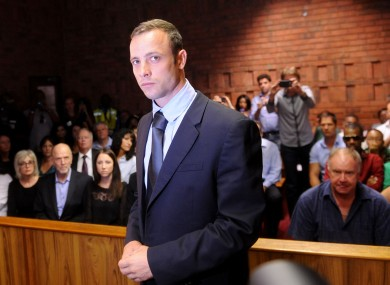 Oscar Pistorius in court yesterday.