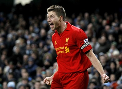 Gerrard shows his delight after scoring.