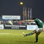 Ireland's Thomas Daly kicks the winning conversion in Dubarry Park.