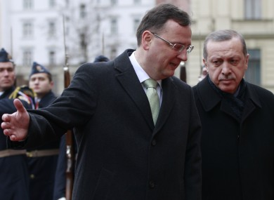 Czech PM Petr Necas (left) welcomes Turkish leader Recep Tayyip Erdogan in Prague earlier today