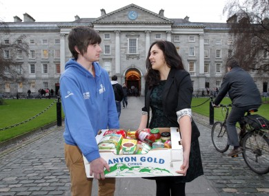 Students in Trinity College distribute food boxes to fellow students whose grant applications have yet to be processed by SUSI.