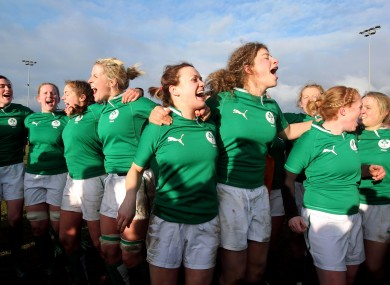 The Irish women celebrate after defeating Scotland.
