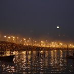 Indian Hindu devotees gather at Sangam, the confluence of the Rivers Ganges and Yamuna on 'Maghi Purnima', considered an auspicious bathing day, during the Maha Kumbh festival in Allahabad, India. Millions of Hindu pilgrims have been attending the Maha Kumbh festival, which is one of the world's largest religious gatherings that lasts 55 days and falls every 12 years. (AP Photo/Rajesh Kumar Singh)