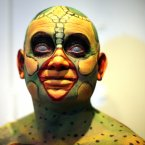 Model Victor Henry is seen during  the all Ireland body painting championships in Temple Bar Dublin (Niall Carson/PA Wire)
