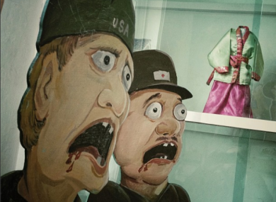 Caricatures of American and Japanese soldiers in a Pyongyang classroom, North Korea.