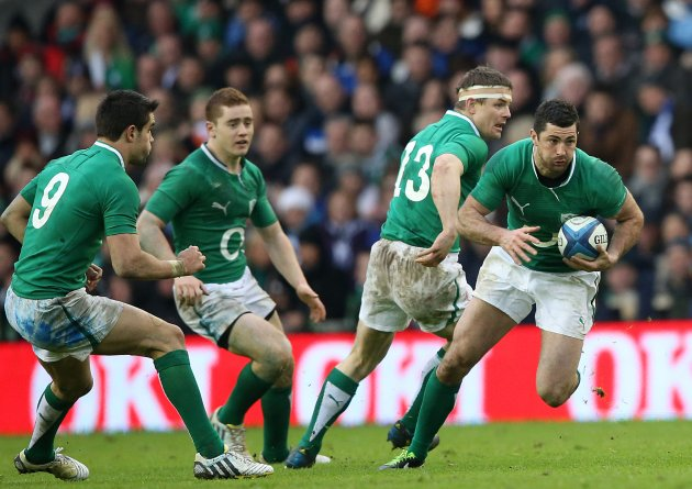Rob Kearney supported by Conor Murray, Paddy Jackson and Brian O'Driscoll 24/2/2013