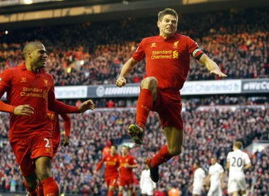 Steven Gerrard celebrates his late winner.