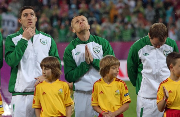 Stephen Ward, Damien Duff and Glenn Whelan 14/6/2012