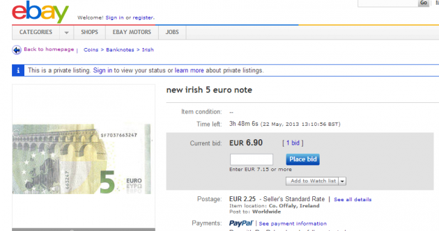 Want to buy a new fiver… for €6.90?
